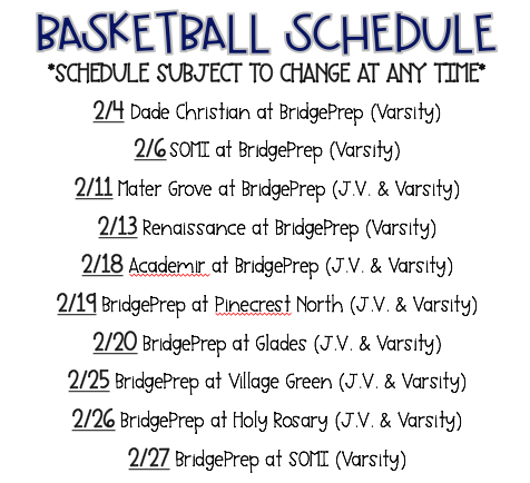 2020 Basketball Schedule